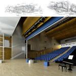 Auditorium: vista interna e schizzi progettuali